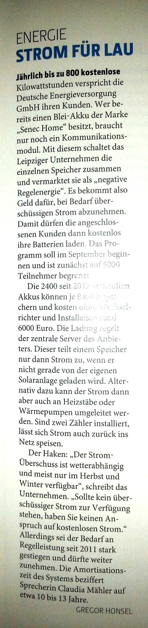 Technology Review Artikel über senec Speicher Deutsche Energieversorgung GmbH